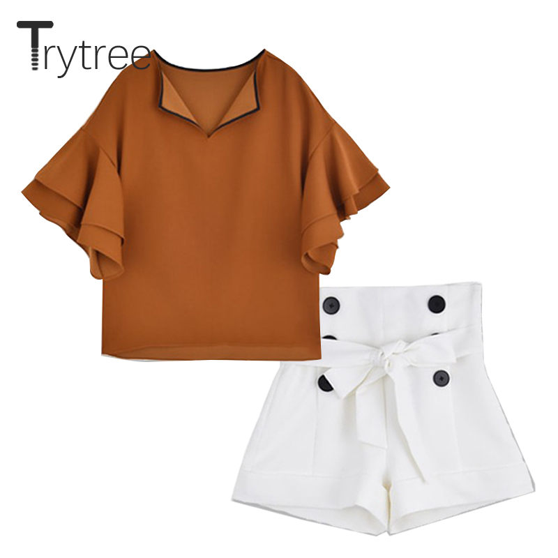 Trytree Summer Women Two Piece Set Casual Polyester V-Neck Ruffles Flare Sleeve Solid Tops + Shorts Sashes Suit Set 2 Piece Set