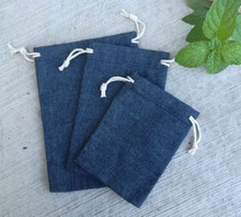 Bolsas de algodón con cordón para Vaqueros, 8x10cm, 9x12cm, 10x15cm, 13x17cm, paquete de 50, maquillaje, joyería, Denim, bolsa de regalo