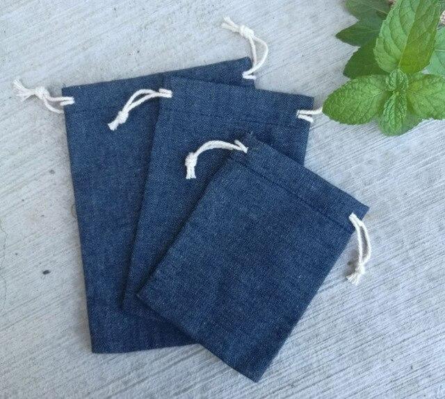 Cotton Jean Drawstring Bags  8x10cm 9x12cm 10x15cm 13x17cm pack of 50 Makeup Jewelry Denim Gift Pouch