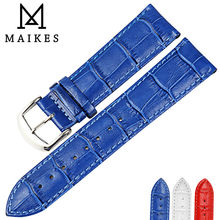MAIKES Good Quality Genuine Leather Watchbands 16mm 18mm 20mm 22mm Blue Watch Bracelet Belt Watch Strap