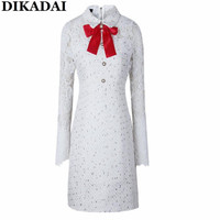 Ajuste Masajeadores de cuello lazo una línea vestido de tweed mujeres blanco Encaje manga vintage partido Vestidos moda Otoño 2017 mujer rodilla vestido