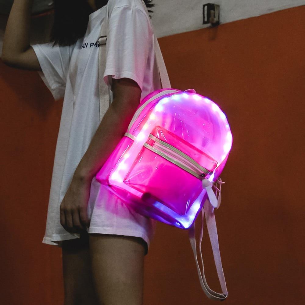Women Glitter Jelly Backpack Lantern LED Light Decoration Shoulder Bag Student Transparent School Bag Backpack Electronic Bags
