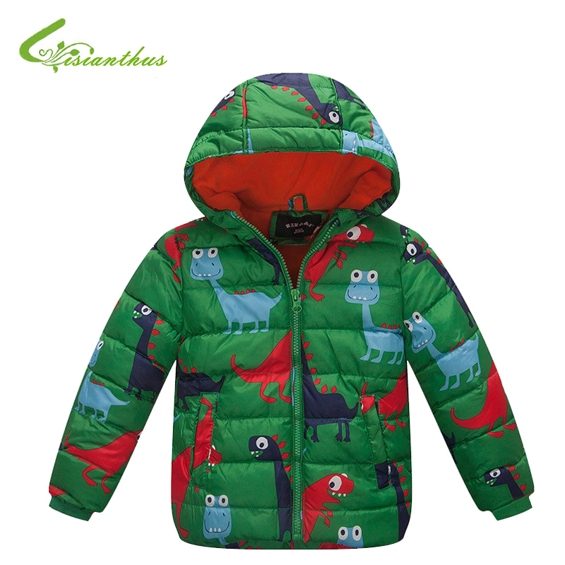 ФОТО Children Boys Down Cotton Jackets Kids Winter Coats Hooded Dinosaur Outwears Polar Fleece Lning Clothes Animals Dino Clothing