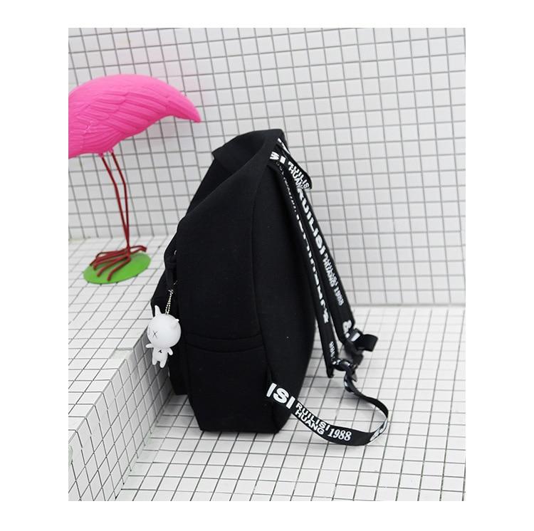 2019 New Backpack Fashion Canvas Women Backpack Doll Pendant Travel Women Shoulder Bag Harajuku Backpack Female Mochila Bagpack