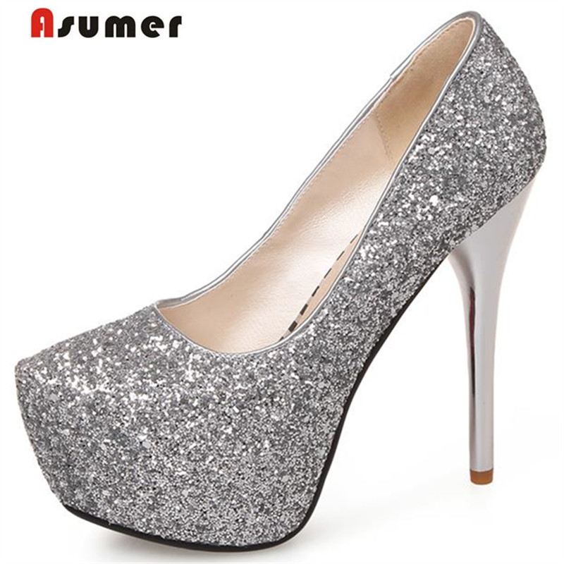 Asumer Plus size 34-43 new fashion sexy 13.5cm ultra high heels women pumps round toe gold glitter platform wedding shoes woman стоимость
