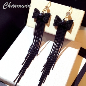 Charmwin New Tassel Earrings Dangle Earrings For Women Exaggerated Bow Gold And Black Color Long Earrings PE1932