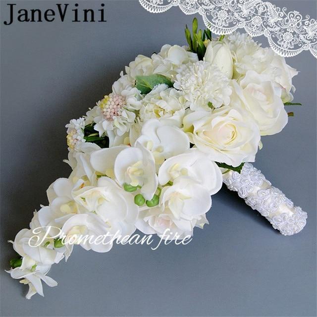 Janevini 2018 Artificial White Bridal Bouquet Phalaenopsis Lace