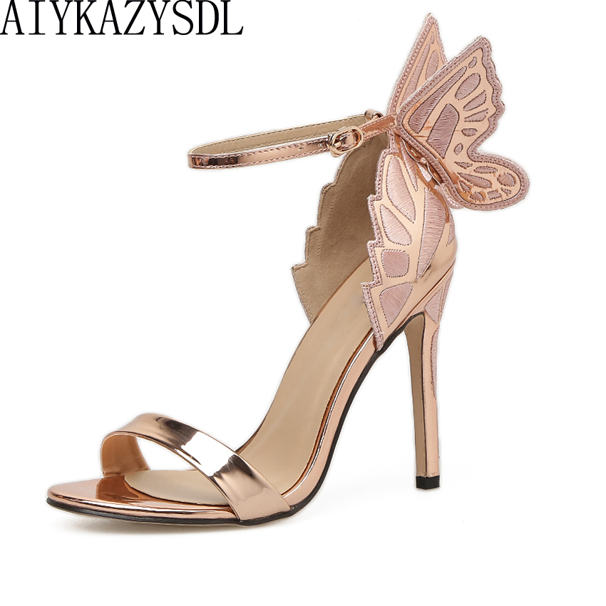 AIYKAZYSDL Women Sandals 3D Butterfly Wing Embroidery Sandals High Heel Shoes Woman Pumps Metallic Stiletto Wedding Party Dress evangeline glitter angel wing sandals sexy laser cut metallic gladiator sandals high heels butterfly wedding shoes woman pumps