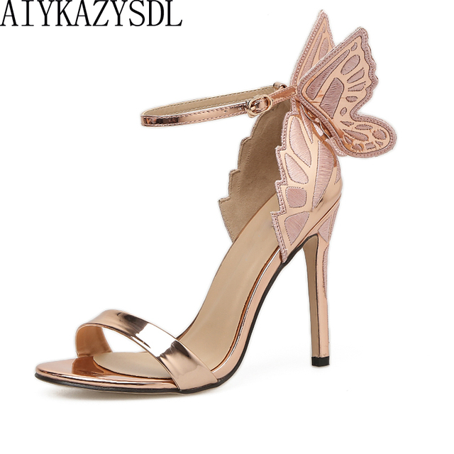 a86c4083a7bf AIYKAZYSDL Women Sandals 3D Butterfly Wing Embroidery Sandals High Heel  Shoes Woman Pumps Metallic Stiletto Wedding Party Dress