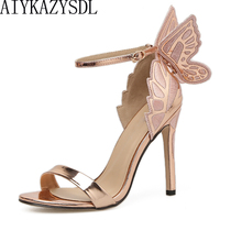AIYKAZYSDL Women Sandals 3D Butterfly Wing Embroidery Sandals High Heel Shoes Woman Pumps Metallic Stiletto Wedding Party Dress