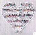 2016 Promoción Limitada Ecológico Arte esmalte de Uñas De Rack de Almacenamiento de Alta Calidad 96 cm x 99 cm En Forma de Corazón de La Pared Bastidores tienda Hs-8