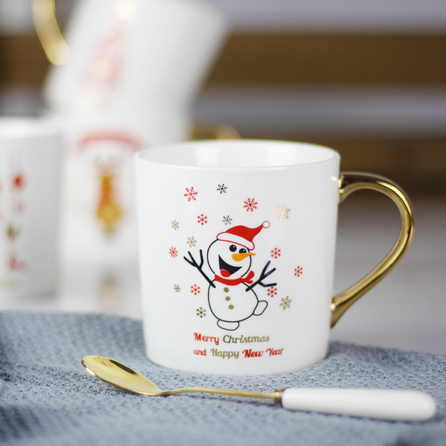 12oz Funny Unique Christma Pattern Ceramic Coffee Mug With Gold Handle Gifts Porcelain Tea Milk Cup For Kids