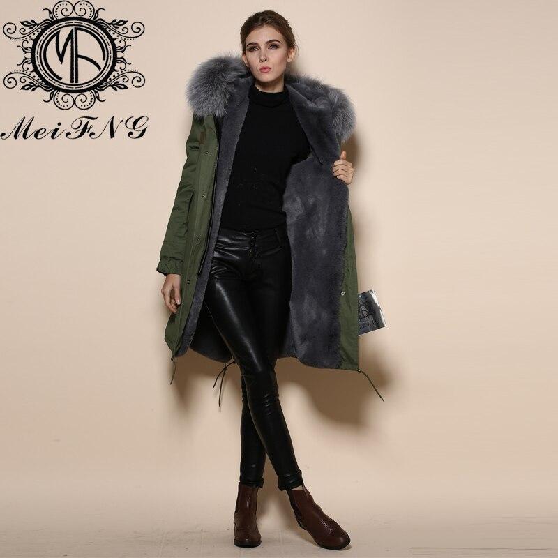 Design élégant gris longue veste réel de fourrure amovible col manteaux à capuchon doublé de fourrure parka