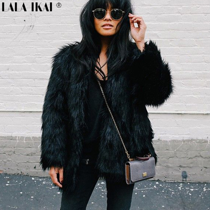 Long Black Faux Fur Coat Promotion-Shop for Promotional Long Black ...