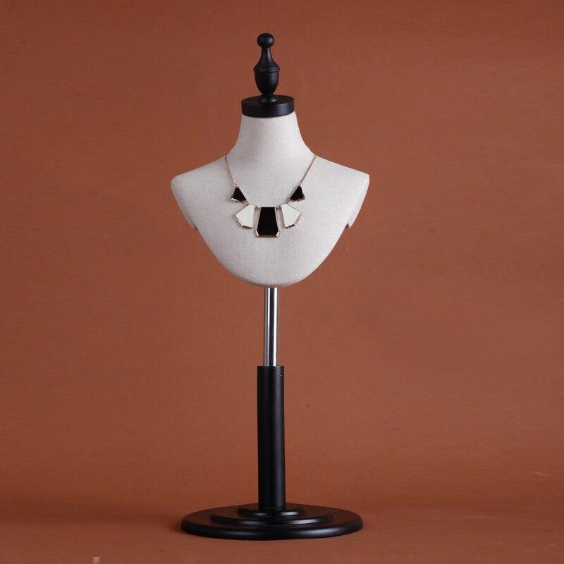 Haute qualité bijoux collier accessoires présentoir linge tissu bois disque réglable mannequin féminin
