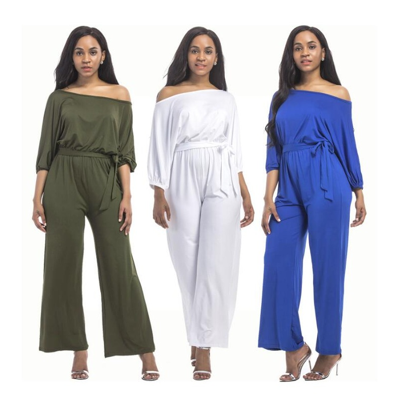 S-XXL Plus Size Womens Spring Summer Empire Solid Jumpsuit High Elasticity Fashion Bright Color Knee-Length Jumpsuit