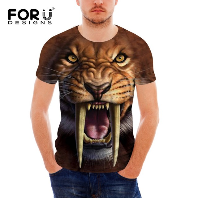 52204f0d1ae6 FORUDESIGNS Novelty 3D Animal Print T Shirts Men's Wolf Dog Tshirt Casual  Summer Tees Shirt Men Short Sleeve Slim Fit T-Shirt