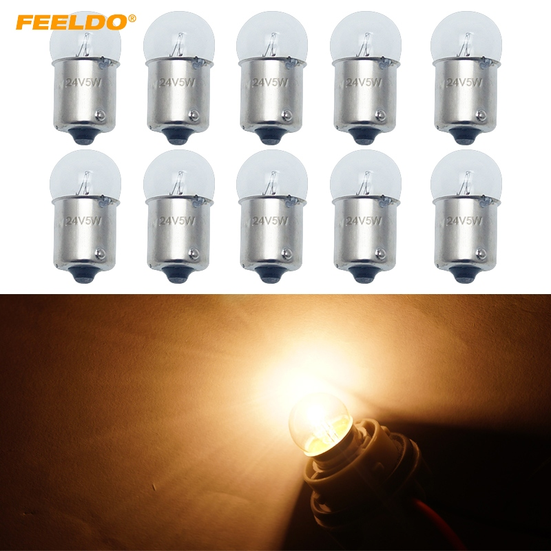 FEELDO 10Pcs G18 24V 5W BA15S 1156 Clear Glass Lamp Turn Tail Bulb Auto Truck Indicator Halogen Lamp