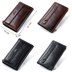 Image 5 - CONTACTS men clutch RFID genuine leather mans long wallet casual high capacity multi card holder male wallets porte carte bags
