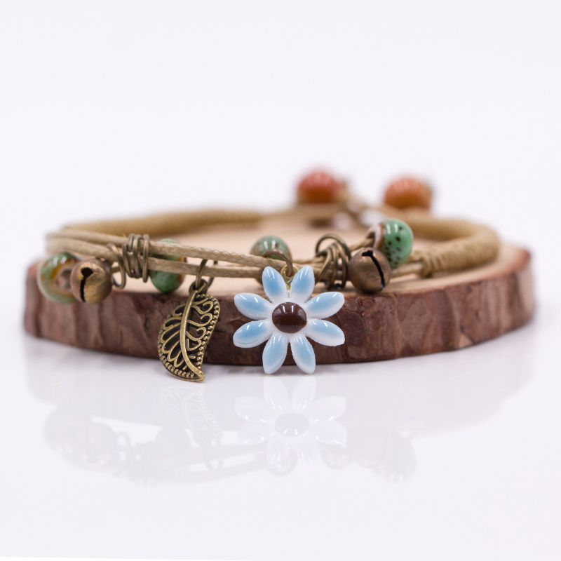 Women's Flower leaf Ceramic hand made DIY Bracelets ...