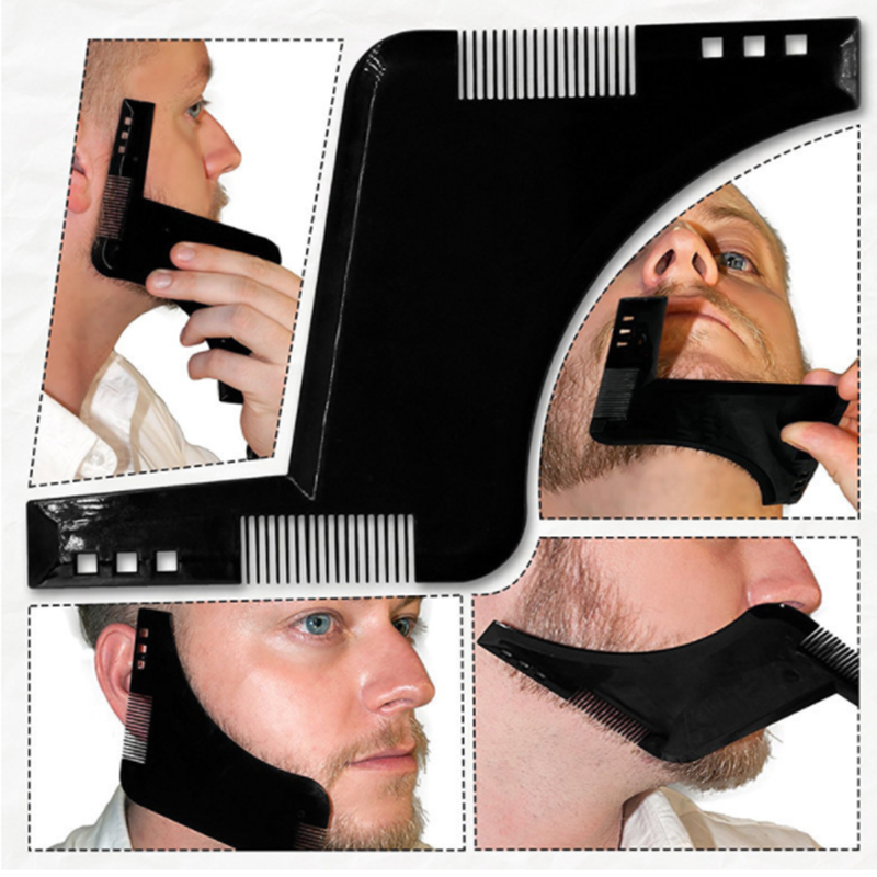 Men Beard Comb Mustache Shaping Styling Double-side Template Shaving Tools Plastic Comb Face Care Modeling Grooming Tool