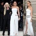 EUA novo estilo de moda de celebridades calças bodysuits macacões sem encosto das mulheres 2016 senhoras sexy macacão elegante macacão branco mulheres