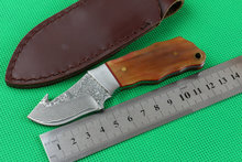 100% New Damascus Hunting Fixed Blade Knife,Thorny Back Cowfish Handle Outdoor Survival Knife,Multitool,Hot Sales