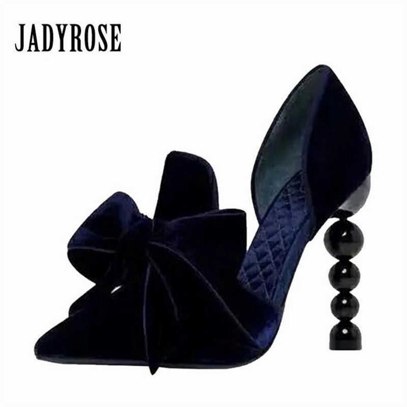 Jady Rose Designer Heel Women Pumps Pearl Decor 9CM High Heels Pointed Toe Bowknot Velvet Stiletto