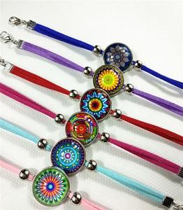 Image 3 - Браслеты Jiangzimei 24 шт./лот бандана Пейсли Мандала Цветок этнический Ретро стиль стеклянный кабошон кожаный браслет paty подарок