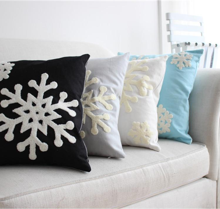 5 color snowflake embroidery pillow cushion cover sofa cushion cover chair car seat pillow cover. Black Bedroom Furniture Sets. Home Design Ideas