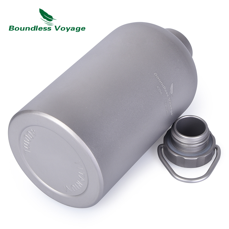 Boundless Voyage Titanium Water Tea Coffee Bottle with Titanium Lid Outdoor Camping Cycling Hiking Sports Picnic Drinkware 400ml-in Sports Bottles from Sports & Entertainment    2