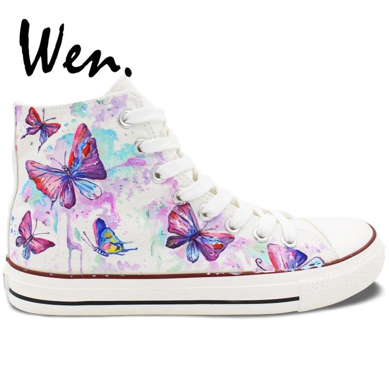 Wen Weiß Hand Gemalt Schuhe Design Nach Bunte Schmetterling Frauen männer High Top Canvas Sneakers Plattform Geschnürt Plimsolls - 3