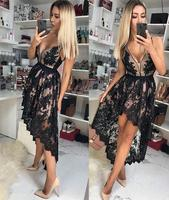 Black Lace High Low Short Cocktail Dresses With Straps V Neck Sleeveless Beaded Lace Girls Seniors Informal Prom Party Dress