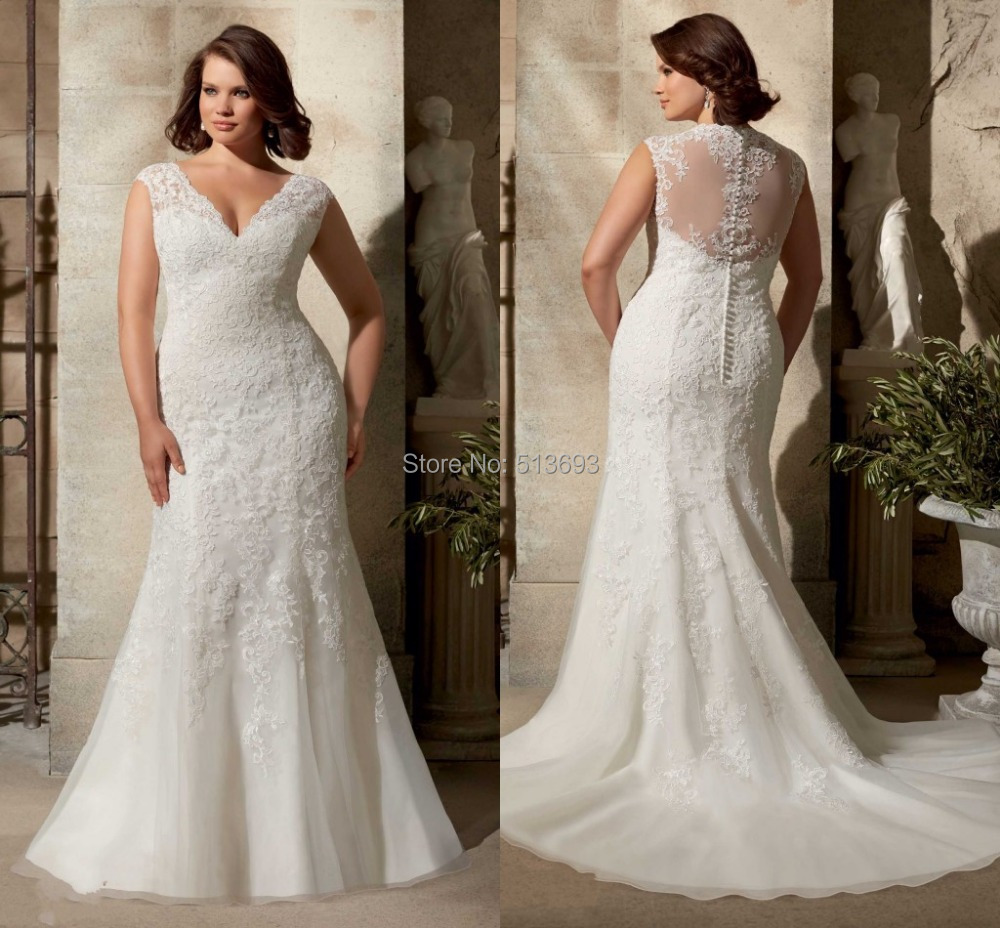 Buy elegant cap sleeves bridal gown sheer for Lace wedding dresses plus size