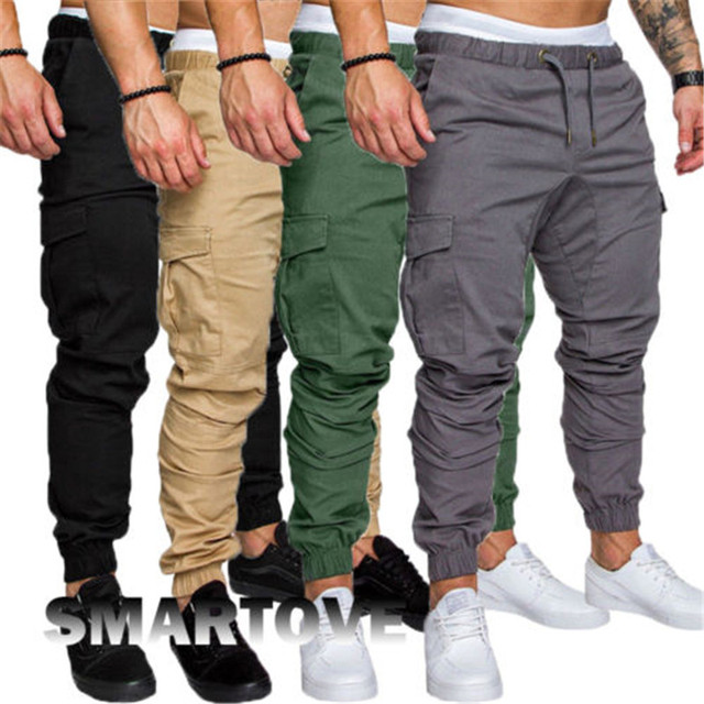 New2018 Men S Elasticated Waist Cargo Combat Work Trousers Slim Fit