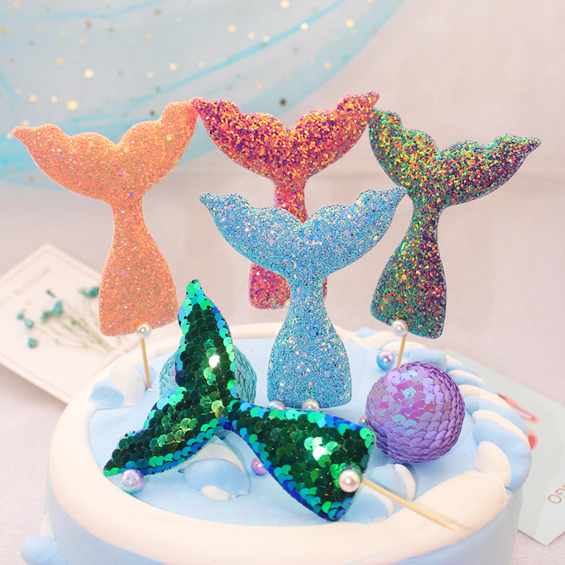 new sweet glitter mermaid fishtail cake topper birthday cake decoration baby shower kids birthday party wedding favor supplies