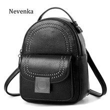 NEVENKA Women Retro Backpack School Backpack For Girls Female Casual Style Rivet Small Shoulder Bag Fashion Leather Back Pack