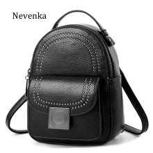 NEVENKA Women Retro Backpack School Backpack For Girls Female Casual Style Rivet Small Shoulder Bag Fashion Leather Back Pack