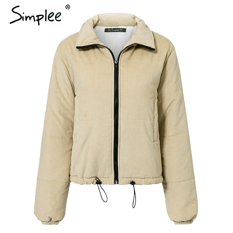 Simplee Casual winter women corduroy parkas Thick soft drawstring female warm padded coat Fashion streetwear ladies overcoats