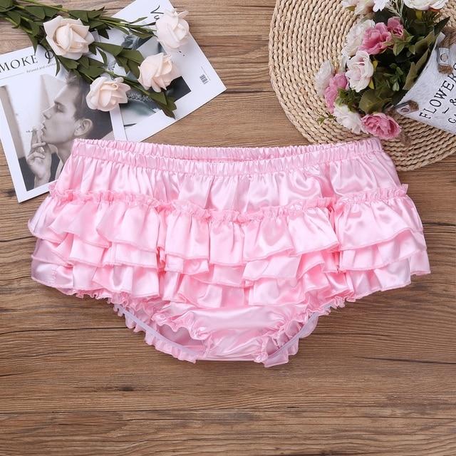 Hommes Satin culottes Sissy crossdress sous-vêtements Lingerie sous-vêtements gai brillant chaud jupe Satin Lingerie Crossdressing culotte