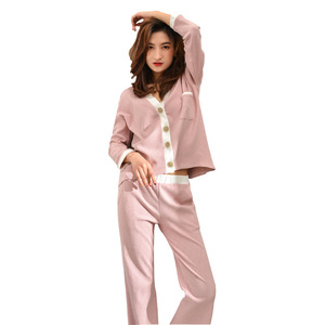 Image 5 - 2019 Bahar Yeni Çizgili Ev Giyim V Yaka Pijama Seti Örme Pamuk kadın Pijama Eğlence Uzun Kollu Pantolon Pijama Pj seti