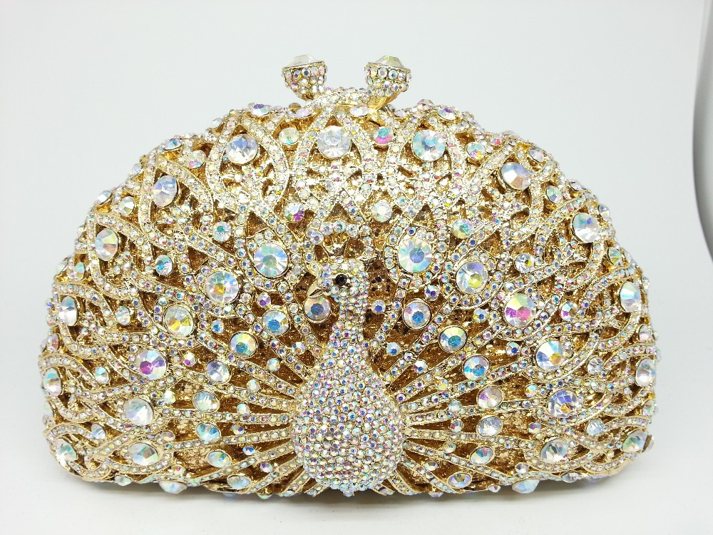 1ccb6311ca Dazzling Pink Crystal Women Peacock Clutches Handbag Metal Evening Bags  Minaudiere Ladies Party Purse Wedding Clutch Bridal Bags-in Evening Bags  from ...