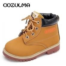 COZULMA Girls Boys Lace-up Work Boots Autumn Winter Girls Ankle Boots Toddler Kids Martin Boots Children Shoes For Boys Sneakers(China)