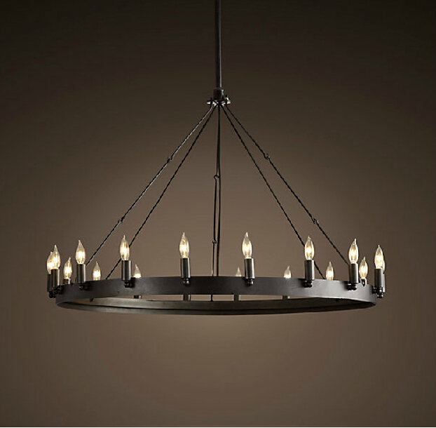 Modern Iron Chandeliers: Retro Loft Rh American Vintage Chandeliers Antique Style Black Wrought Iron  Round Pendant Lamps Bar Restatuant,Lighting