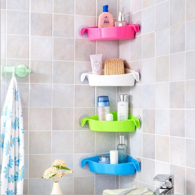 Sucker Bathroom Racks Kitchen Holder Colorful Wall Mounted Toilet Corner Storage Rack 4 Colors