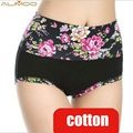 Alimoo New Cotton Fiber Women Panties High Waist Underpants Sexy Flower Printed Belly In Carry Buttock Briefs Underwear