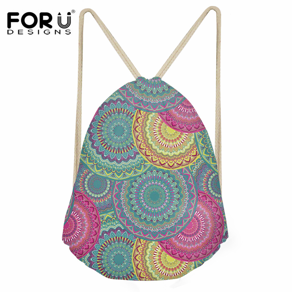 FORUDESIGNS Bohemian Mandala Pattern Fashion Drawstring Bag For Girls Casual String Backpack Girls Polyester Beach Cinch Sack