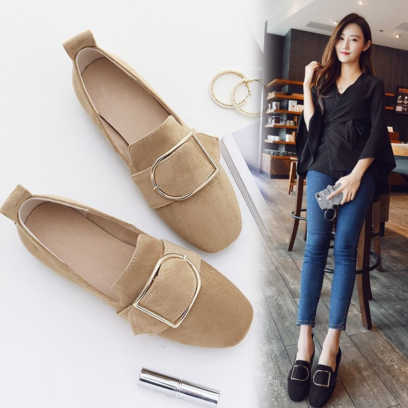 Genuine Leather Women Flats Heel Spring Autumn Brand Shoes Woman Sneakers Soft Comfortable Square head Female Loafers Ballet tn top brand high quality genuine leather casual men shoes cow suede comfortable loafers soft breathable shoes men flats warm