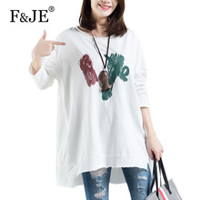 a99266bc169 F JE Spring Fashion Big Size Women Clothing all-matched Casual Print Long T- shirts
