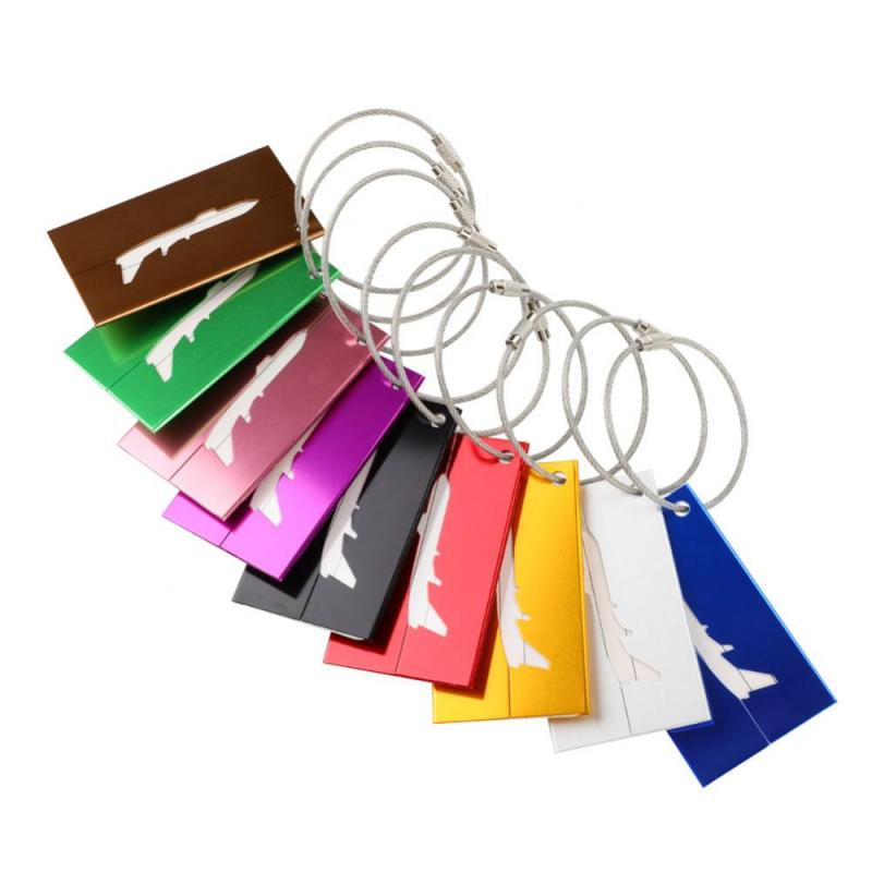 9Pcs Aluminum Alloy Luggage Tag Suitcase ID Address Holder Baggage Boarding Tag Portable Label Travel Outdoor Tools